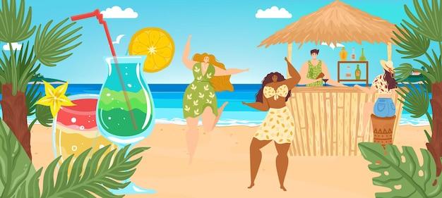 Wakacje na plaży na morzu latem, ilustracji wektorowych. mały mężczyzna postać kobiety w tropikalnym barze, kieliszek do koktajli owocowych w pobliżu palm, natura oceanu. turystyka wakacyjna na płaskim terenie, wypoczynek na piasku na wyspie.