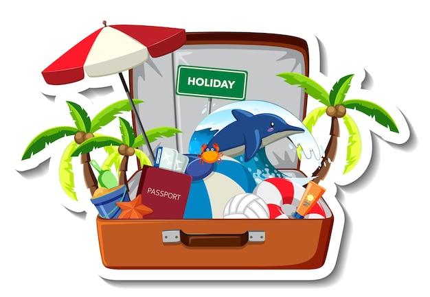 Wakacje na plaży z letnimi przedmiotami plażowymi w otwartej walizce