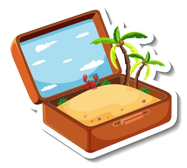 Wakacje na plaży z otwartą walizką