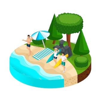 Wakacje na wyspie ludzie na plaży, kamienie, drzewa, rzeka, jezioro, morze, plaża, surfing. camping, rekreacja na świeżym powietrzu