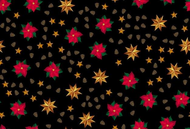 Wakacje nowy rok i wesołych świąt bożego narodzenia tło złote gwiazdy, szyszki i kwiat poinsecji. ilustracja wektorowa eps10