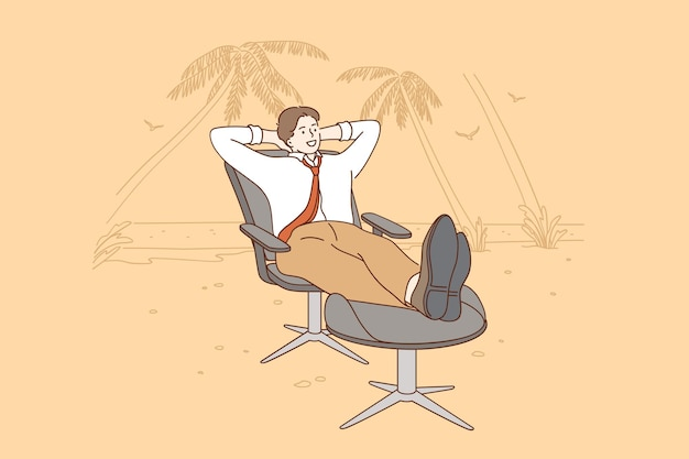 Wakacje Odpocząć Od Koncepcji Pracy I Biznesu Premium Wektorów
