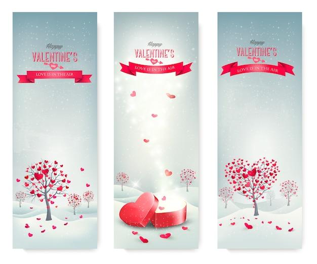 Wakacje retro banery. drzewa walentynkowe z liśćmi w kształcie serca.