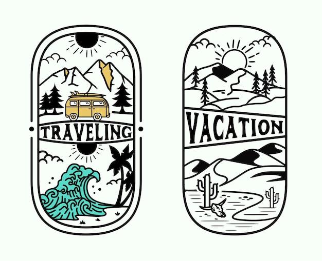 Wakacje retro odkryty vintage przygoda zestaw szablon logo odkrywania przyrody