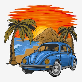 Wakacje rocznika samochodu z zachodem słońca na plaży.