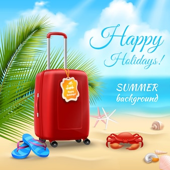 Wakacje tło z realistyczną walizką na tropikalnej plaży