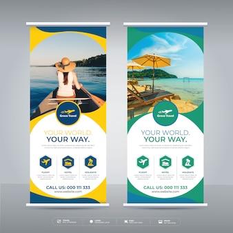 Wakacje, turystyka i podróże zwiń projekt szablonu banner