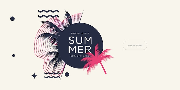 Wakacje w sezonie letnim z liśćmi kokosa i geometrycznymi kształtami.