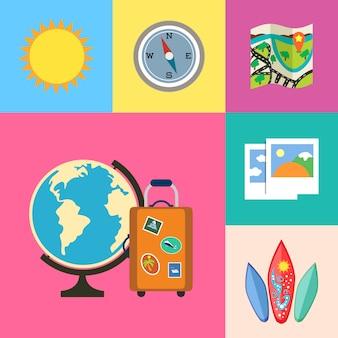 Wakacje wakacje i zestaw ikon podróży