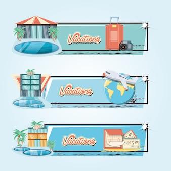 Wakacje wakacje zestaw ikon podróży wektor ilustration