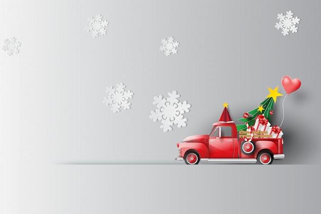 Wakacje z czerwonym klasycznym samochodem pickup truck