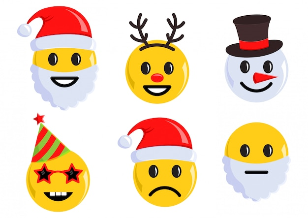 Wakacje zestaw ikon świątecznych emotikon. ilustracji wektorowych
