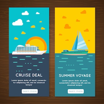Wakacyjne biuro podróży ekskluzywnej podróży morskiej oferują interaktywne banery