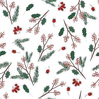 Wakacyjny bezszwowy wektor zieleni i czerwonych kolorów wzór z liśćmi i jagodami na boże narodzenia