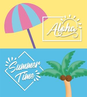 Wakacyjny plakat letni z parasolem i palmą