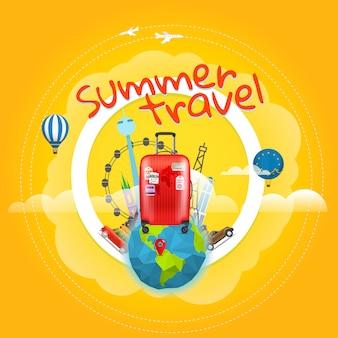 Wakacyjny plakat podróżny z torebką.