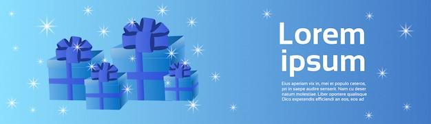 Wakacyjny tło błękitny prezentów pudełek szablonu horyzontalny sztandar z kopii przestrzenią