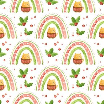 Wakacyjny wzór z bożonarodzeniowymi tęczowymi liśćmi ostrokrzewu i uroczym kotem z zimowym swetrem