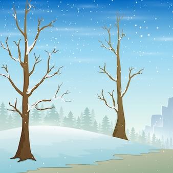 Wakacyjny zimowy krajobraz z padającym śniegiem i nagimi drzewami