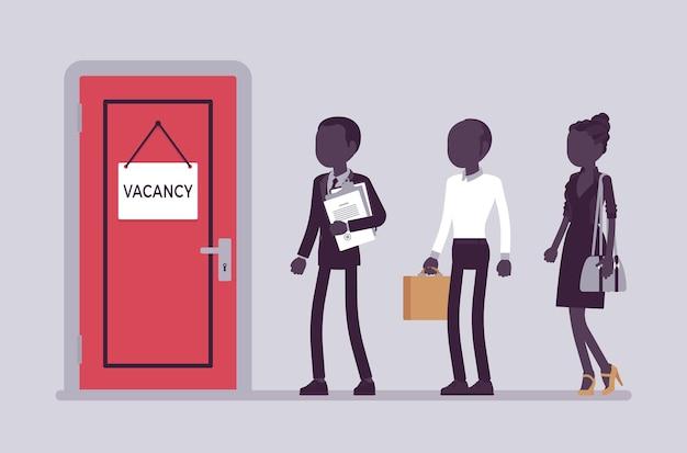 Wakat drzwi znak w biurze, kandydaci do pracy. osoby poszukujące pracy, rozmowa kwalifikacyjna z potencjalnymi kandydatami do pracy, wolne stanowisko, wybory na wolne stanowisko w firmie. ilustracja wektorowa, postacie bez twarzy