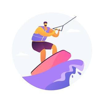 Wakeboarding streszczenie koncepcja ilustracji wektorowych. sporty wodne, sporty ekstremalne, kolejka do łodzi, sztuczka wakeboardowa, sprzęt do nart wodnych, aktywny tryb życia, adrenalina, abstrakcyjna metafora parku rozrywki nad jeziorem.