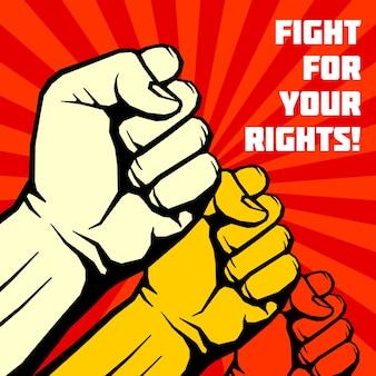 Walcz o swoje prawa, solidarność, plakat wektor rewolucja