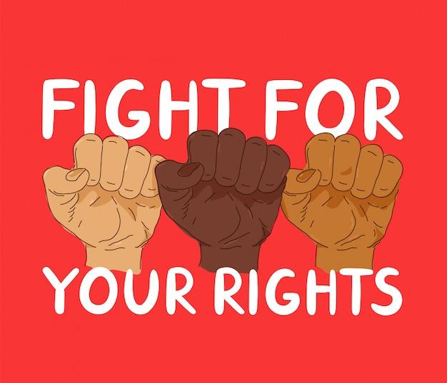 Walcz o sztandar protestu o swoje prawa. projekt plakatu modny styl ilustracji. anty rasizm, prawa człowieka, koncepcja black lives matter