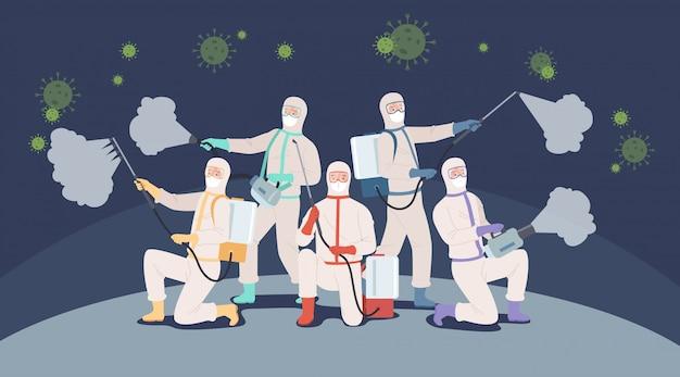 Walcz z koncepcją covid-19. zespół lekarzy lub pracownicy służby zdrowia w kombinezonach ochronnych walczących z pandemią koronawirusa. ilustracja w stylu płaskiej
