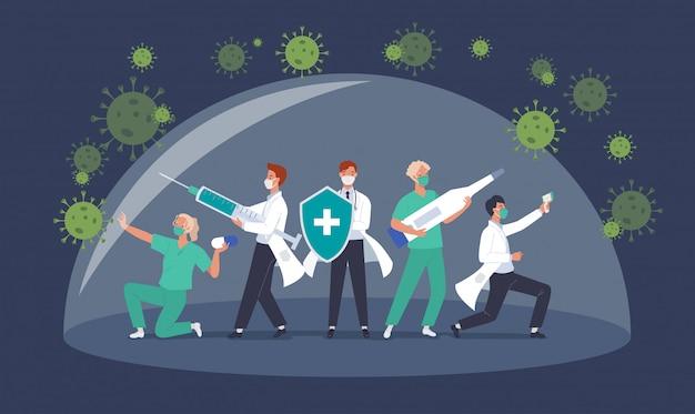 Walcz z koncepcją wirusa korony covid-19. zespół lekarzy lub pracownicy służby zdrowia walczący z pandemią koronawirusa. ilustracja w stylu płaskiej