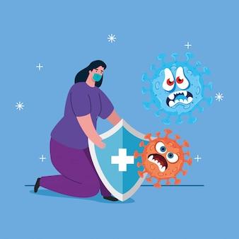 Walcz z koronawirusem, kobietą noszącą maskę medyczną, emoji z wyrazem twarzy i ochroną tarczy