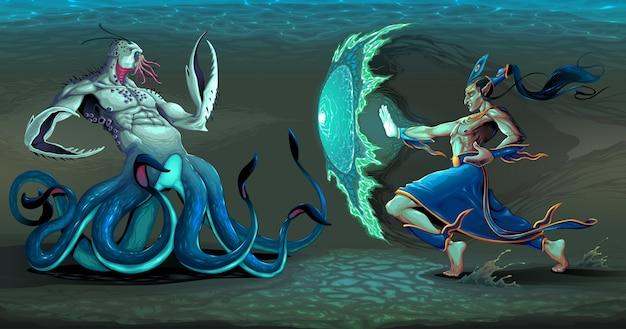 Walcząca scena między elfem i morskim potworem