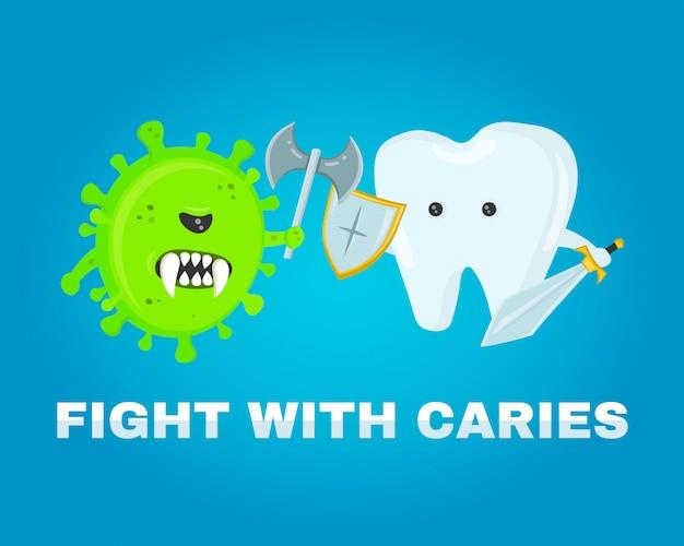 Walczący ząb z ubytkami, ubytkiem. zdrowe zęby . bitwa o chorobę. zaatakowane przez zarazki ubytków. płaska ilustracja