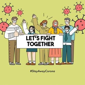 Walczmy razem corona covid-19 doodle ilustracja kampania bezpieczeństwa