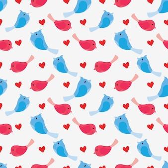 Walentynka bezszwowy wzór z miłość ptakiem i sercem