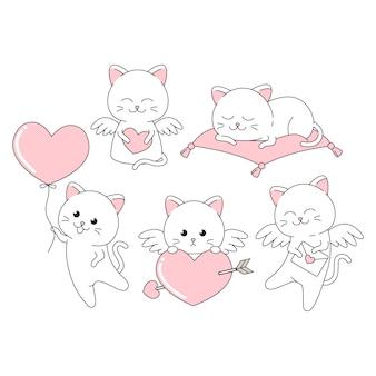 Walentynka śliczny kot z wiele pozą