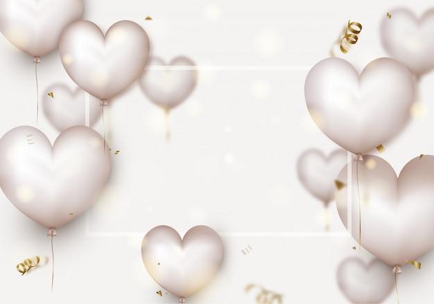 Walentynki . 3d białe serca, niewyraźne latające konfetti, cząstki, bokeh.
