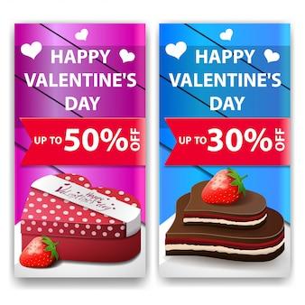 Walentynki banery z czekoladowe cukierki i prezenty