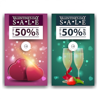 Walentynki banery z serca i kieliszki szampana