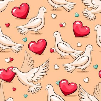 Walentynki bezszwowe wektor wzór z gołębiami i serca