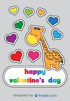 Walentynki cartoon żyrafa karty projektowanie