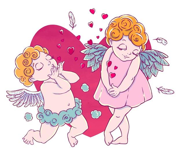 Walentynki. chmurki z amorkami uklękły i dmuchały pocałunkami i sercami. para aniołów.