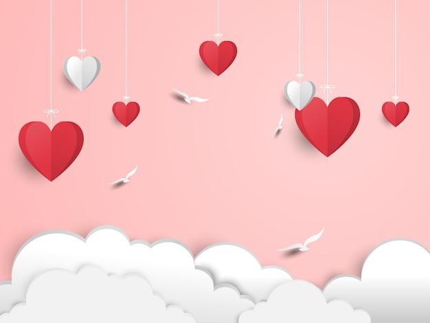 Walentynki cięcia papieru ilustracja