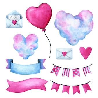Walentynki, clipart do wyznania miłości. serduszko, chmurki, list, wstążka, girlanda