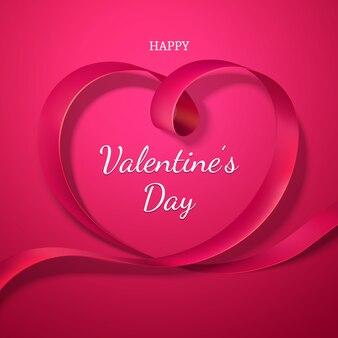 Walentynki czerwoną wstążką serca. święto miłości