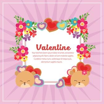 Walentynki dekoracja kwadratowy tekst z niedźwiedziem