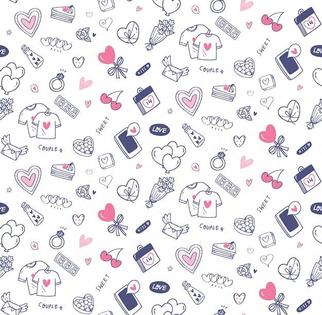 Walentynki doodle bez szwu