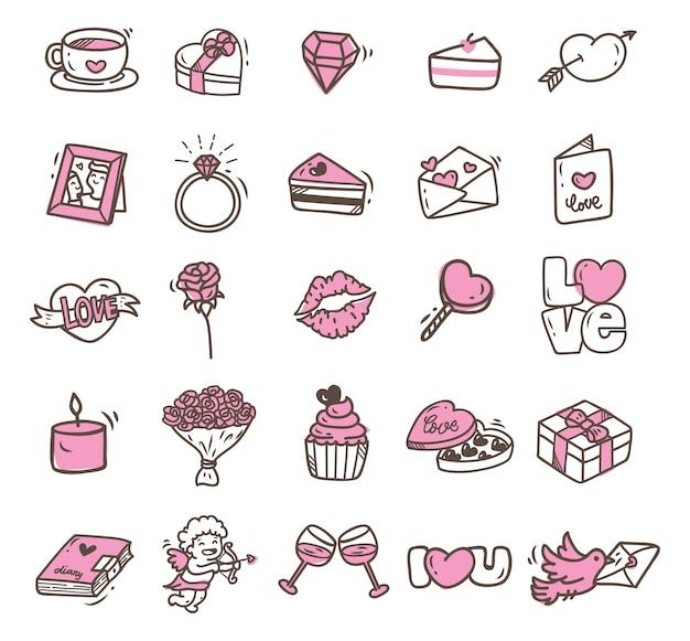 Walentynki doodle ikona odizolowywająca na białym tle