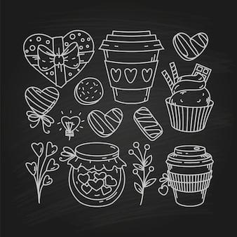 Walentynki doodle przekąska, szkic świąteczny zbiór symboli