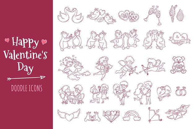Walentynki doodle zestaw ikon