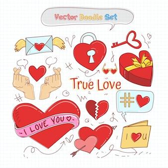 Walentynki doodle zestaw wektor